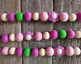 Wood bead garland, felt ball garland decor, purple garland 4ft spring garland, flower Garland