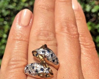 18K Rose-Yellow Gold Textured Panther Cat Whimsical Diamond Sapphire Bypass Ring