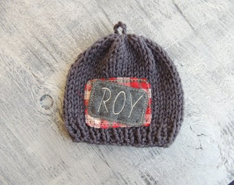 Personalized Beanie, Hand Knit Beanie, Luv Beanies, Baby Beanie, Embroidered name beanie, Monogrammed beanie, Baby Photo Prop, Baby Hats