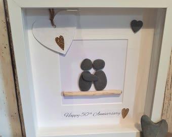 Happy 50th Anniversary - Cornish Pebble Art Picture