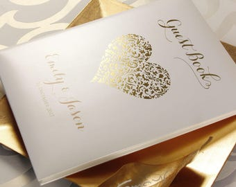 Gold Foil Lace Heart  Hard Cover Guest Book - A4 - Bespoke Hand Made Album and Book in Cream with Ribbon- Your Names