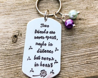 Hand stamped personalised keyring, friend gift, keychain, gift for her, friend keyring