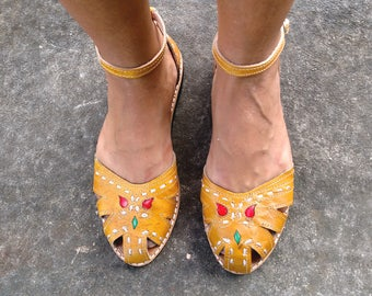 "Leather Sandals Handmade Mustard Leather Shoes Vintage Style Leather Shoes Summer ""BONECA"""