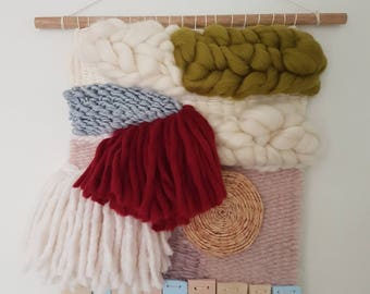 Small weaved wall hanging in merino wool with raffia and habu detailing and clay trim /READY TO SHIP