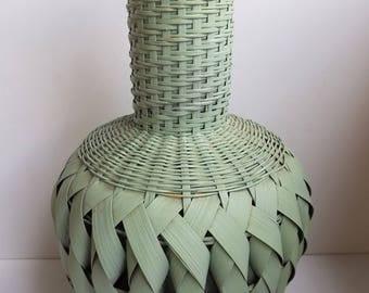 Vintage Woven Tall Urn or Vase Shaped Basket