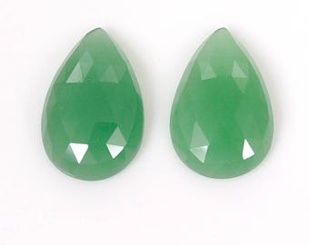 Natural Quartzite Gemstone : 15.50cts. 100% Natural Green Quartzite Loose Gemstone Pear Shape Rose Cut Slice 20*12mm Pair For Jewelry