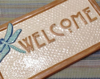 Dragonfly Welcome Sign. Handmade ceramic tile sign with turquoise, cream glaze. Christmas Gift