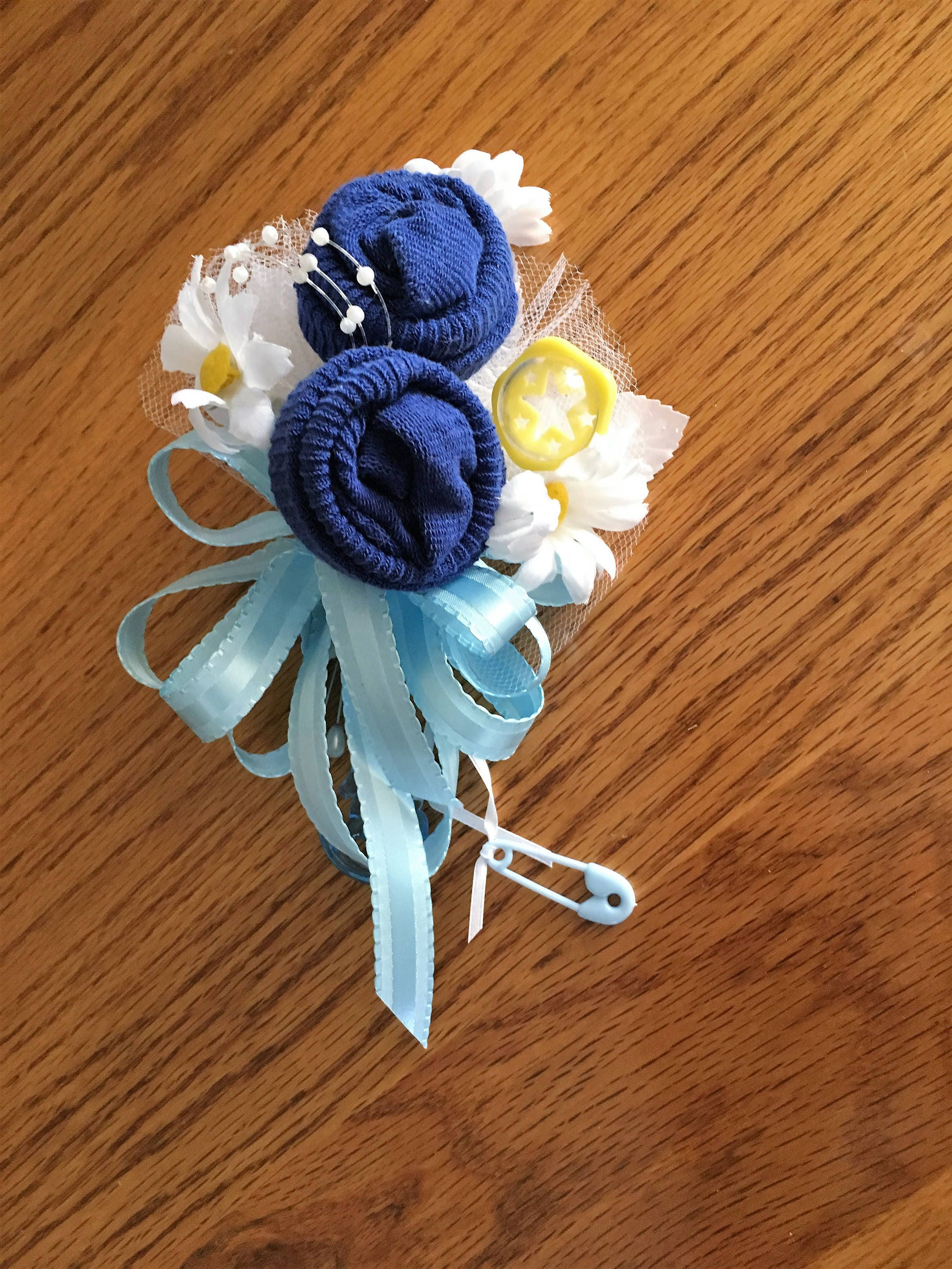 Baby Sock Baby Shower Corsage Handmade Infant Baby Shower Corsage