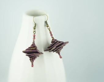 Spiral earrings, origami paper