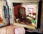 Vintage Timber Box Dollhouse: Super Miniature Upcycled Room Box, Sitting Room