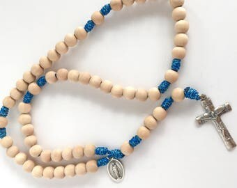 Wooden bead Rosary on Green Rope