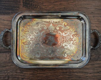 Large antique etched silver-plated serving tray - Essay Canada EP Copper, gorgeous handles and beautiful patina
