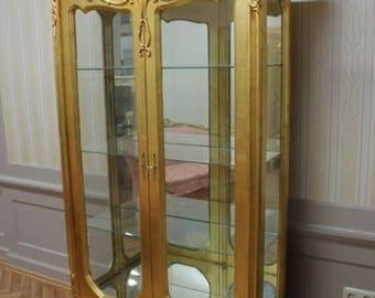 Baroque glass Cabinet antique style AlVi0808GoSp