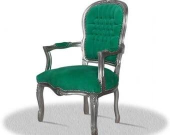 Baroque armchair, impact silver, green