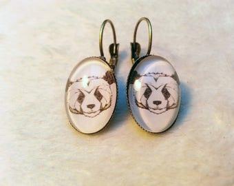 Cute Panda oval earrings