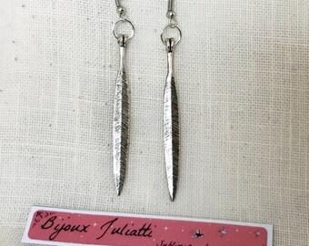 long earrings, long leaves in silver