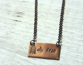 "Stamped Copper Bar Necklace - Stamped Bird ""Free"" Necklace - Bird Cage Necklace"