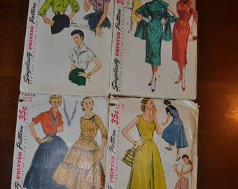 Set of 4, 1950's Simplicity Pattern's, Women's Size 12 Simplicity Pattern