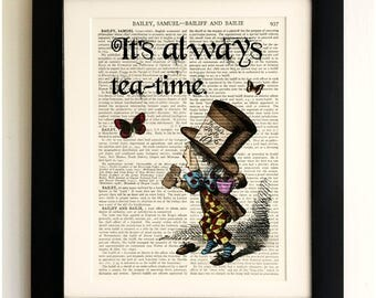 FRAMED ART PRINT on old antique book page - Alice in Wonderland Quote, Vintage Upcycled Wall Art Print Encyclopaedia Dictionary Page