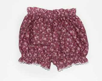 Floral cotton bloomers with trim