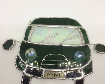 Stained glass Mini, car, Fathers Day gift, suncatcher, racing green, driver gift