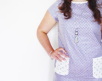 The Franki Shift Dress, floral blue with bias trim and patch pockets by Mosie & Furl