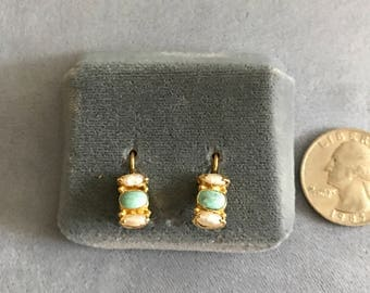 Pearl and turquoise earrings
