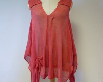 The hot price. Summer asymmetrical linen top, M/L size.