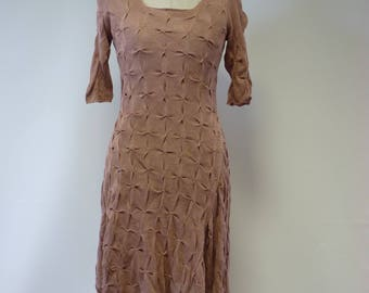 Special price. Artsy powder pink linen dress, S size.