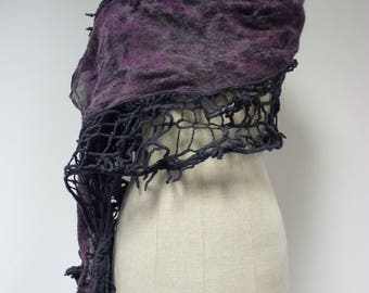 Special price. Handmade grey purple shawl. Perfect for gift.