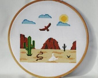 Desert Scene Cross Stitch pattern-cacti, snake, eagle, bison skull, sun, PDF, instant download