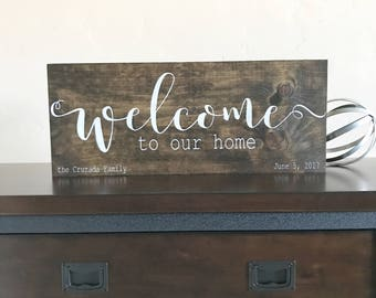 Welcome to our home sign, wall-art, closing gift, new homeowners, handmade wood sign,
