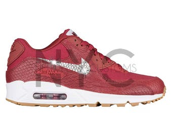 Women Nike Air Max 90 Premium Cedar Red Croc Print Swarovski Crystal Rhinestones