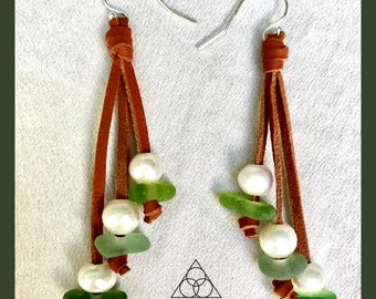Sea Glass and Freshwater Pearl Earrings