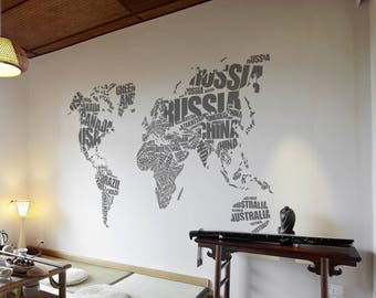 Large World Map Country Names Text Vinyl Wall decal, Wall Stickers for Modern Wall design for Home Decor Art Graphics