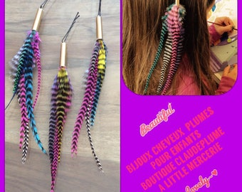 3 feather kids hair pins