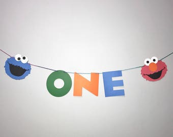 Sesame Street Birthday Garland - Elmo Banner - Cookie Monster