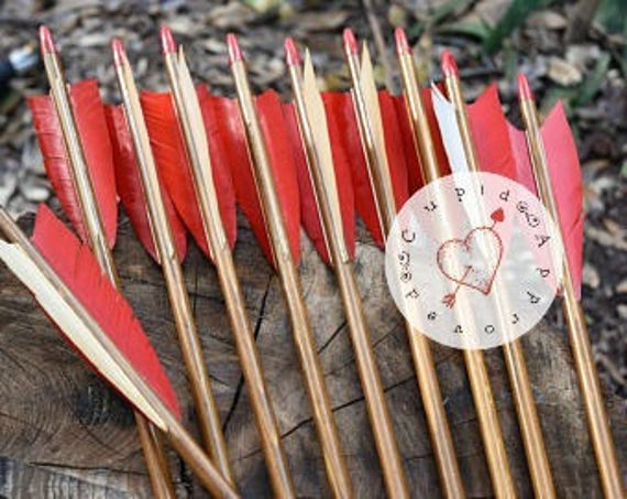 Archery arrows, Vintage wood arrows, set of 10 red and white