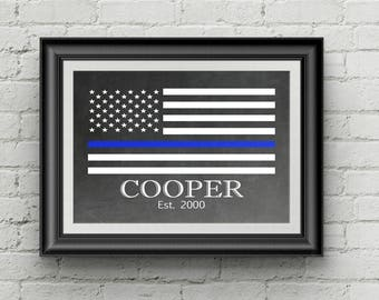 Police Officer Gift - Police Gifts - Thin Blue Line Flag - Custom Police Gift - Gift For Law Enforcement