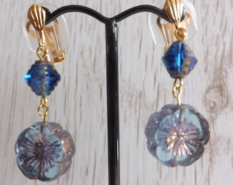 Clip-on blue drop earrings, clipon blue and gold earrings, clipon Boho earrings, festival earrings, unpierced earrings, non-pierced earrings