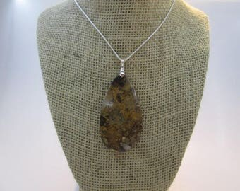 1 Beautiful Necklace Pear Shaped Leopard Skin Jasper Pendant #37