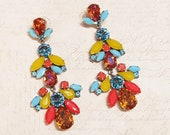 Blue Yellow Coral Statement Earrings Swarovski Crystal Chandelier by Frangos