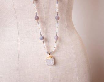 Agate, Quartz, and Crystal Necklace with Quartz Pendant