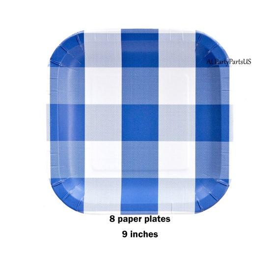 Il_570xn  sc 1 st  Catch My Party & blue plaid plates blue and white gingham plates graduation party ...
