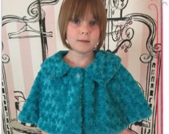 Child's Faux Fur Cape in a Rose Pattern