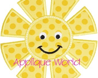 Smiley Sun Applique Embroidery-Instant Digital Download Sun-Machine Applique Embroidery Sun-Sun Applique Pattern.Cute Sun Applique-Sunshine