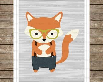 Woodland Hipster Fox ~ Digital Print ~ Instant Download ~ Boys Decor ~ Nursery Decor ~ Baby Room ~ Woodland Fox ~ Cute ~ Hip Fox Glasses