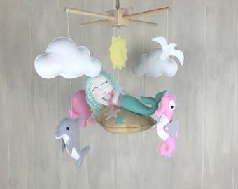 Baby mobile - Mermaid mobile - nursery mobile - baby mobilr - nautical mobile - seahorse - dolphin - octopus - baby mobiles - nursery decor