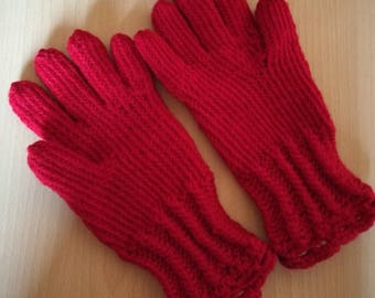 red wool gloves knitted crocheted handmade for women gloves with fingers winter wormers soft gloves accessories for winter thick soft textur