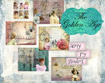 The Golden Age  Digital Journal Kit  Junk Journal Kit  Victorian Journal  Vintage Journal  DIY Scrapbooking  Smashbook  Mini Album  Tags
